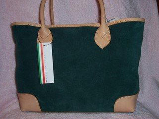 GENUINE SUEDE& LEATHER ITALIAN MADE DESIGNER HANDBAG BY CLAUDIA, RET. $200