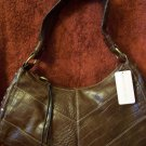 CROC EMBOSSED DESIGNER HANDBAG by BANDOLINO, CHOCOLATE BROWN w/ GOLDTONE HARDWARE