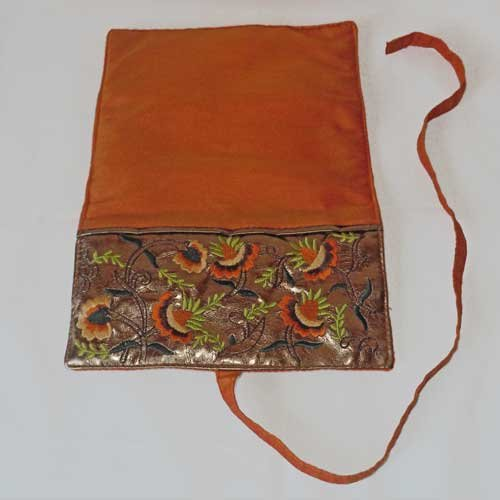 Embroidered Jewelry Roll Travel Case - Orange