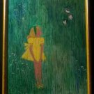 "Genuine Oil Painting - Girl with Butterflies - 19""x15""-Laylas Price:$34"