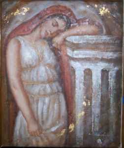 "Genuine Oil Painting""Dreaming Young Roman Woman""-Signed-Layla's Price:$32:"