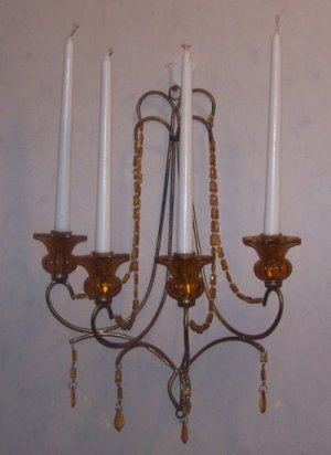 Chic Antiqued Brass-Iron Wall Candelabra-Florets, Prisms & Bead Swags-Shabby Chic!-Layla's Price:$29
