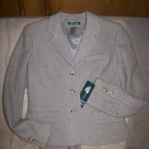 Ralph Lauren Light Gray/Creme Flecked Wool Jacket- Sz 6-w/Tags-MSRP:$250-Layla's Price:$49