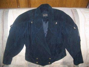 Ladies Super Chic Western Look Black Suede Crop Jacket w/Fringe & Conchos-Med-New-Layla'sPrice:$39