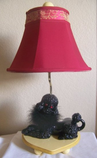 Ooh La La Paris French-Hand Crafted  Retro Style Large Black Poodle Lamp w/Shade-Laylas Price:$79