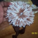 Brown and white flower headband