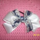 white and blue hairbow