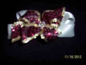 white gold and burgundy hair bow