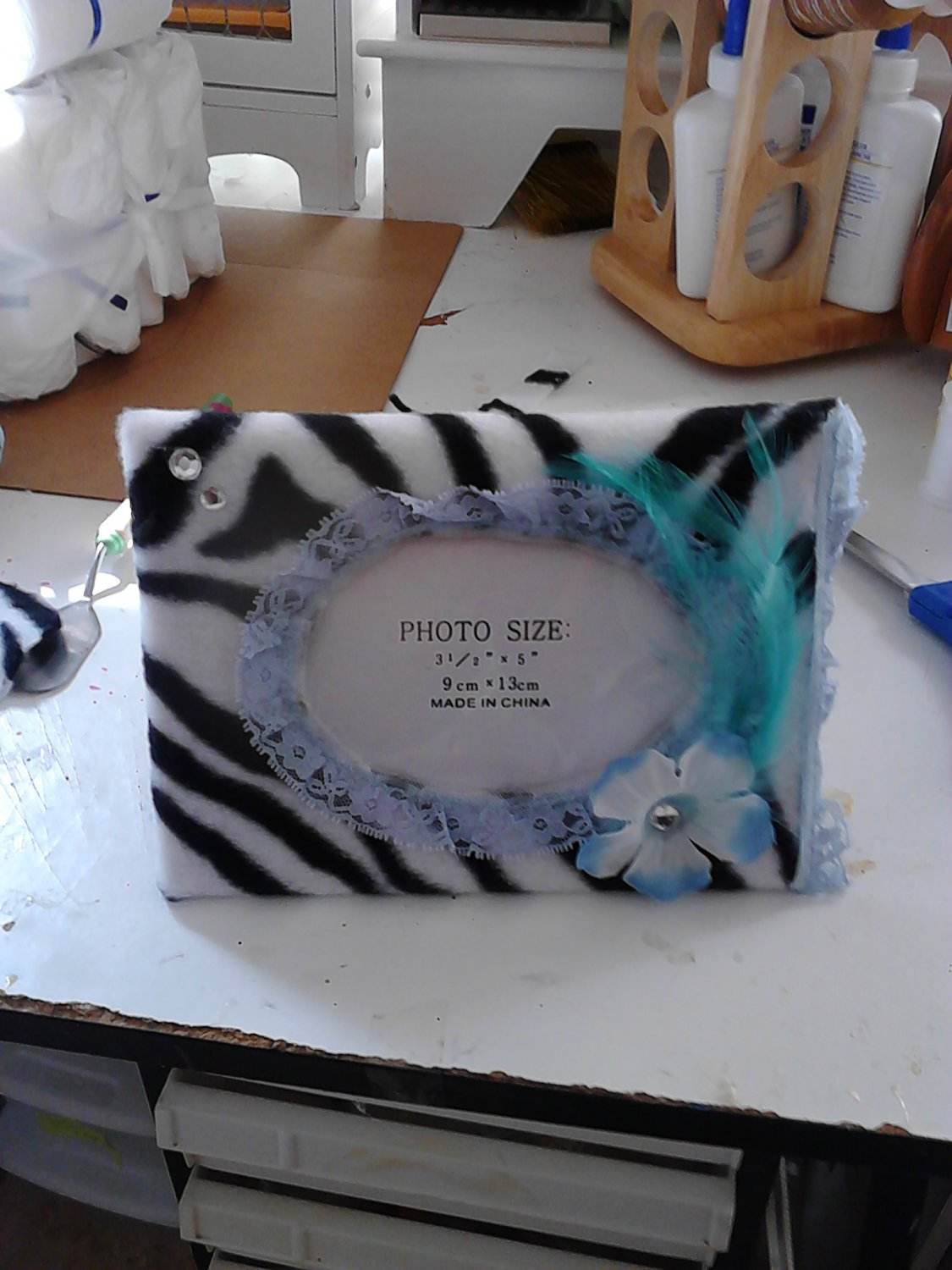 party frame zebra and blue