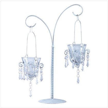 Elegantly Antiqued Mini Chandelier Votive Stand