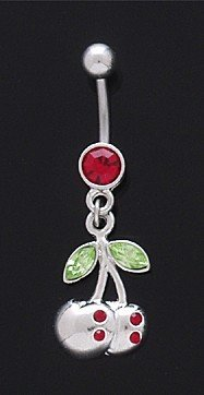 Dangling Cherries with Gems Navel Ring