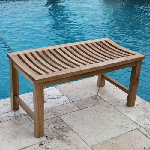 Teak Shower Outdoor Bench 36 Wide 429
