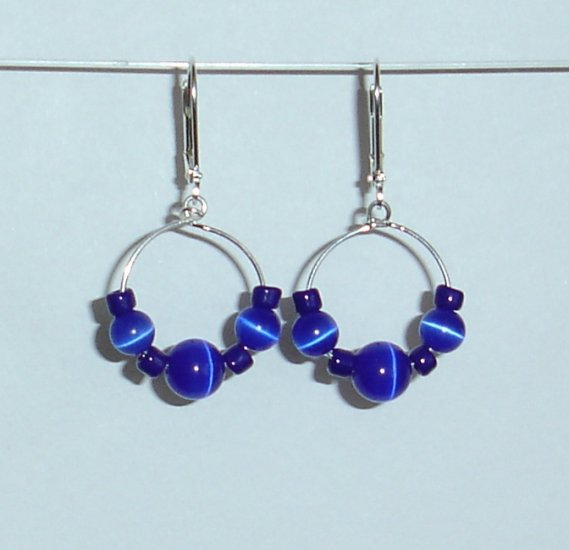 Blue Cats Eye Earrings