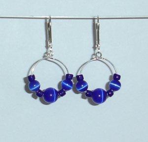 Blue Cats Eye Earrings