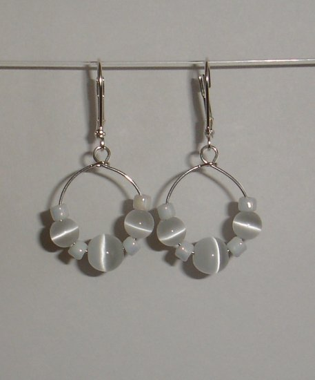 White Cats Eye Earrings