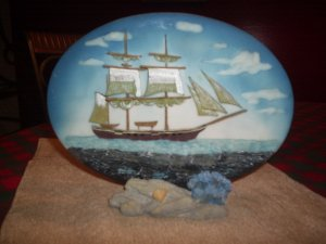 SAILBOAT  PLAQUE WITH STAND