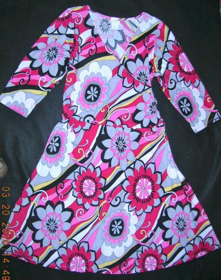 Wrap Dress - by Sunny USA - Size 1X - Pink/black/white multi color