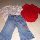 Girls Toddler Heart Valentine Jeans 2 Shirts 12M 18M