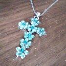 ( 4.0 cm x 2.5 cm ) Genuine Fine Green Crystal Cross Shape Pendant and 18 inch Chain
