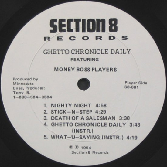 """S8001 - Money Boss Players - Ghetto Chronicle Daily (12"""") *SECTION 8"""
