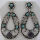 OLD TAXCO REPRODU.SILVER AMETHYST-TURQUOISE EARRINGS