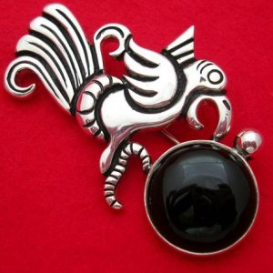 WILLIAM SPRATLING REPRODUCTION SILVER OBSIDIAN PENDANT-PIN