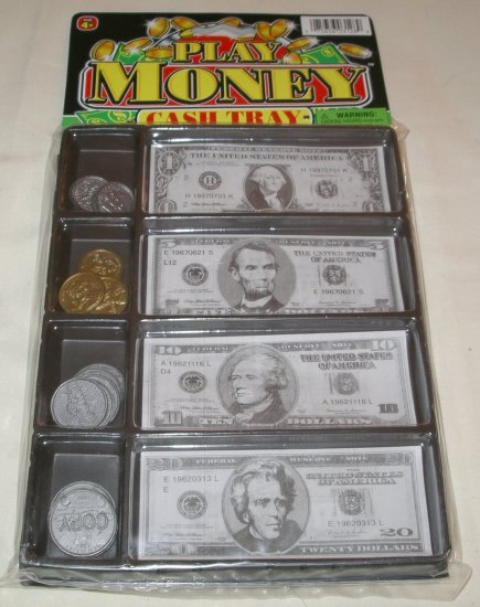 Play Money Cash Tray 20 Bills 20 Coins Ja-Ru Inc.