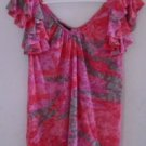 WOMEN'S Blouse Top RUFFLES Pink Brown Red Medium INC V-Neck