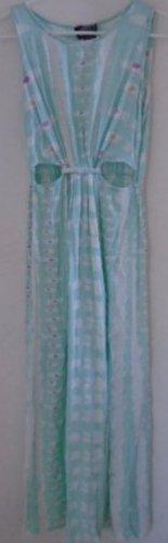Women's Teen Maxi Dress Pale Green Pink White Sleeveless Cutout Waist EASTER