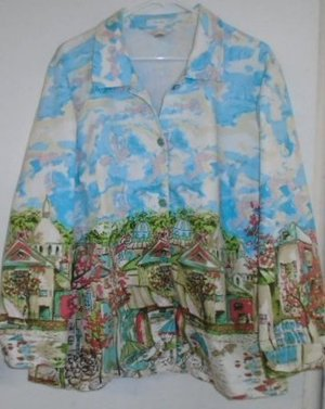 WOMEN'S SUMMER JACKET CJ BANKS Plus Size 2X Beige Blue Green White Parisian Cafe