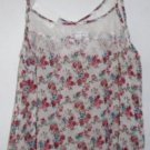FLOWERS AND LACE WOMEN'S Summer Blouse Top Cami Size Medium Off White Red NWT