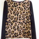LEOPARD PRINT BLOUSE TOP BROWN BLACK SIZE S ISAAC MIZRAHI ROUND NECK LONG SLEEVE
