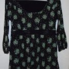 WOMEN'S Blouse Top Green Flowers Silver Shimmer Lace Career Small STYLE & CO