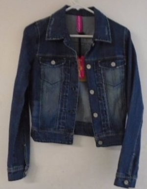 DENIM JACKET Blue Jean Women's Teen's Small Distressed Silver Buttons Fall NWT