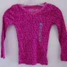 GIRL'S T-SHIRT TOP Ribbed Pink Leopard Animal Print Long Sleeves 5/6 Studs NWT