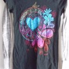 Women's Jr's T-Shirt Layered Long Sleeves Peace Love Small Black Blue Pink NWT