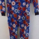 BOY'S Fall Winter FOOTED PJ PAJAMA Long Sleeves 5/6 Sports Themed Basketball NWT