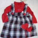 VALENTINE'S DRESS Jumper Baby Girl Toddler 12 Months Red White Black Plaid NWT