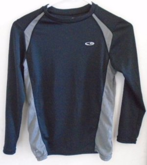 EXERCISE SPORTS RUNNING TOP Youth M 8-10 Boy Girl Unisex Black Grey DUO DRY CHAM