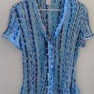 WORTHINGTON BLOUSE Blue Black White Geometrical Pattern Short Sleeves XL