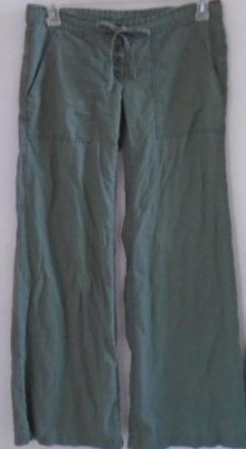 WIDE LEG PANTS Women's Teen Military Green 5/6 R Button Tie Front Linen Cotton