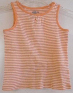 BABY GIRL TODDLER'S Spring Summer Top Orange White Stripes 2T CRAZY 8 Sleeveless