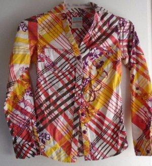 Women's Button Down Blouse Shirt HANG TEN Small Yellow Orange Red White Cotton