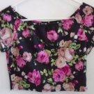 FOREVER 21 CROP TOP Black Pink Floral Short Sleeves Elastic Neck Medium