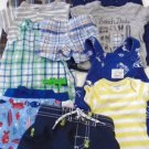 BABY BOY SUMMER LOT Shorts Tops Swimsuit Sets NAME BRAND Nautical Anchor 0-3 Mon