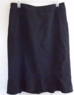ANN TAYLOR BLACK SKIRT Career Office Work Size 10 Lined Virgin Wool Soft