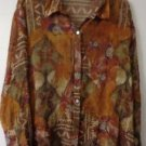 WOMENS SILK BLOUSE SZE 8 CHICO'S BROWNS BEIGE TEAL BUTTON DOWN LONG SLEEVE SHEER