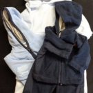 BABY BOY 4 PIECE WINTER OUTFIT JACKETS PANTS FLEECE BUNTING BLUE 0-3 & 3-6 EUC