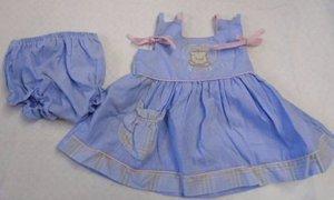 BABY GIRL Dress Diaper Cover Blue Pink Bear Spring Summer 6 Months Sleeveless
