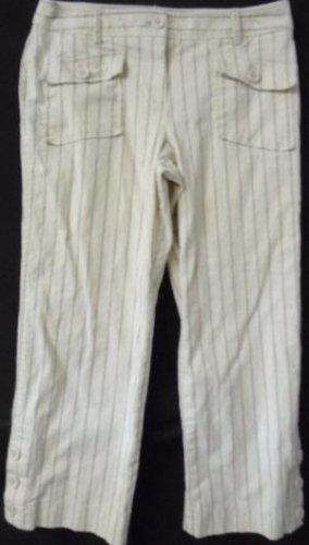 ANN TAYLOR LOFTTeen's Jr's Capri Cropped Pants Off White Black Mauve Stripes 8P